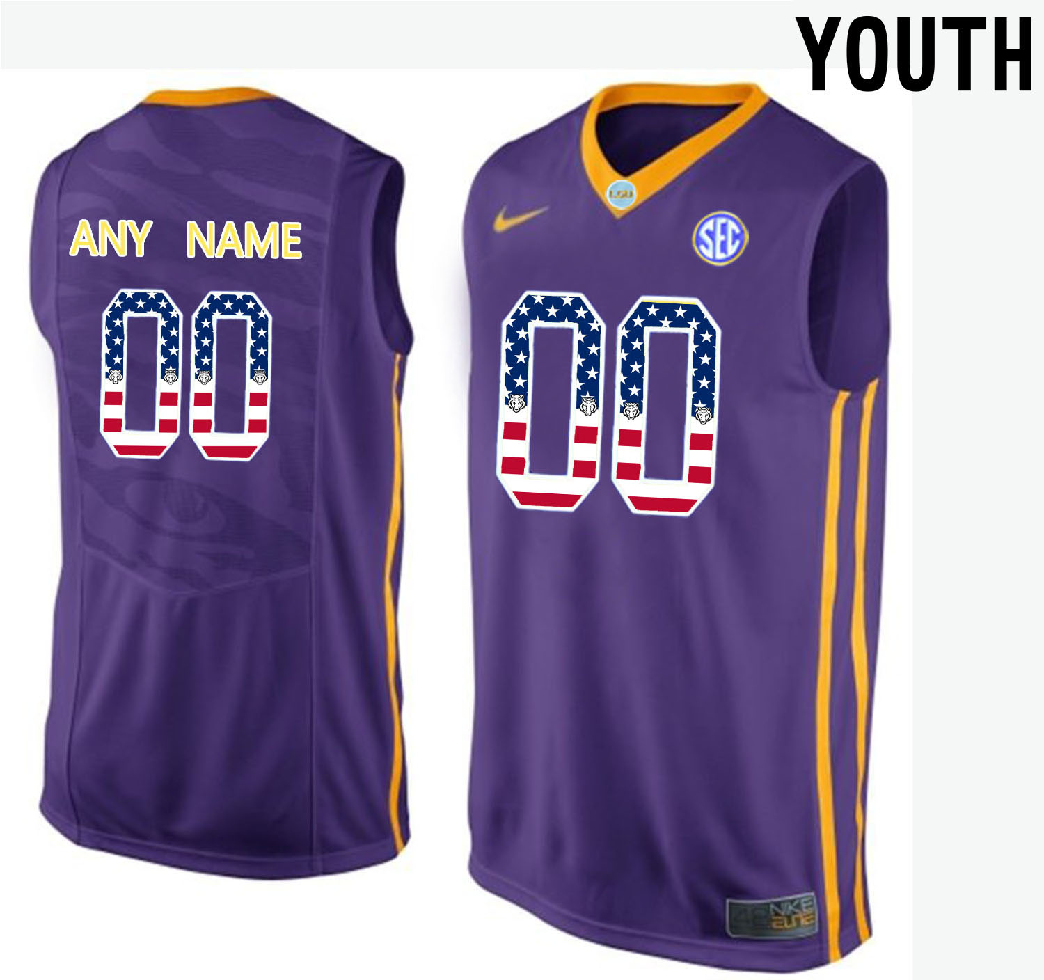 US Flag Fashion Youth LSU Tigers Customized College Basketball Elite Jersey Purple