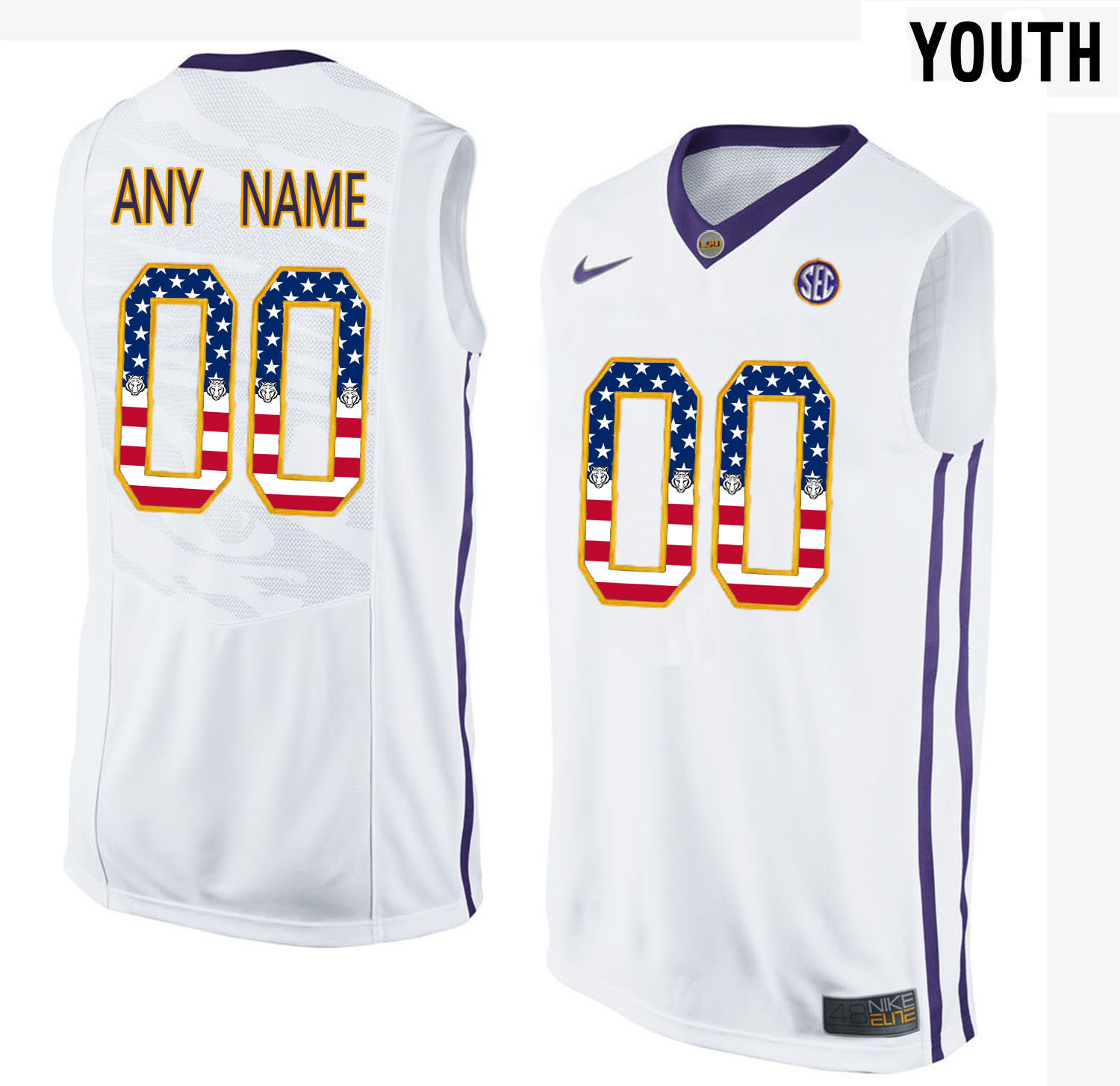 US Flag Fashion Youth LSU Tigers Customized College Basketball Elite Jersey White