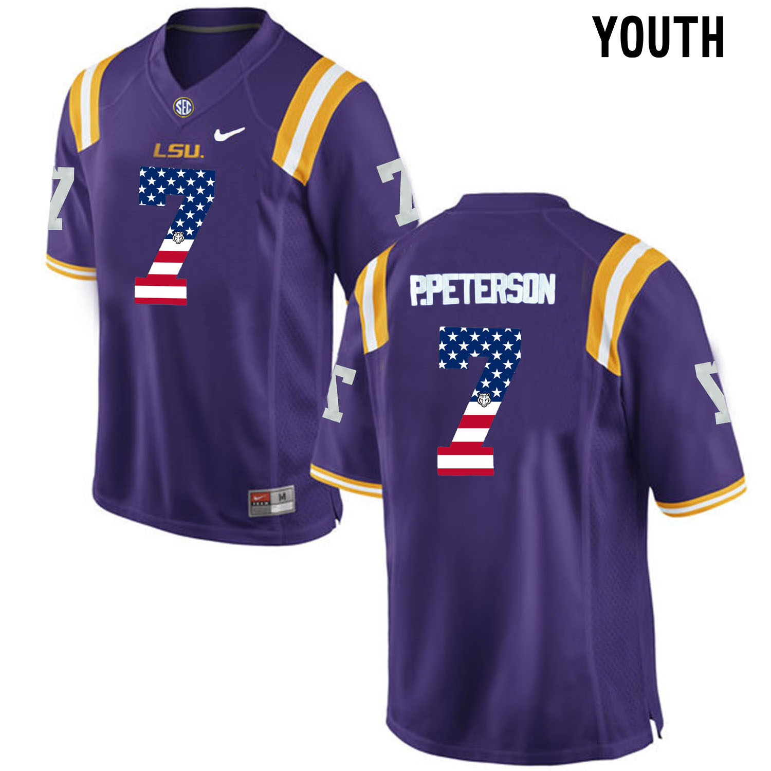 US Flag Fashion Youth LSU Tigers Patrick Peterson 7 College Football Limited Jersey Purple