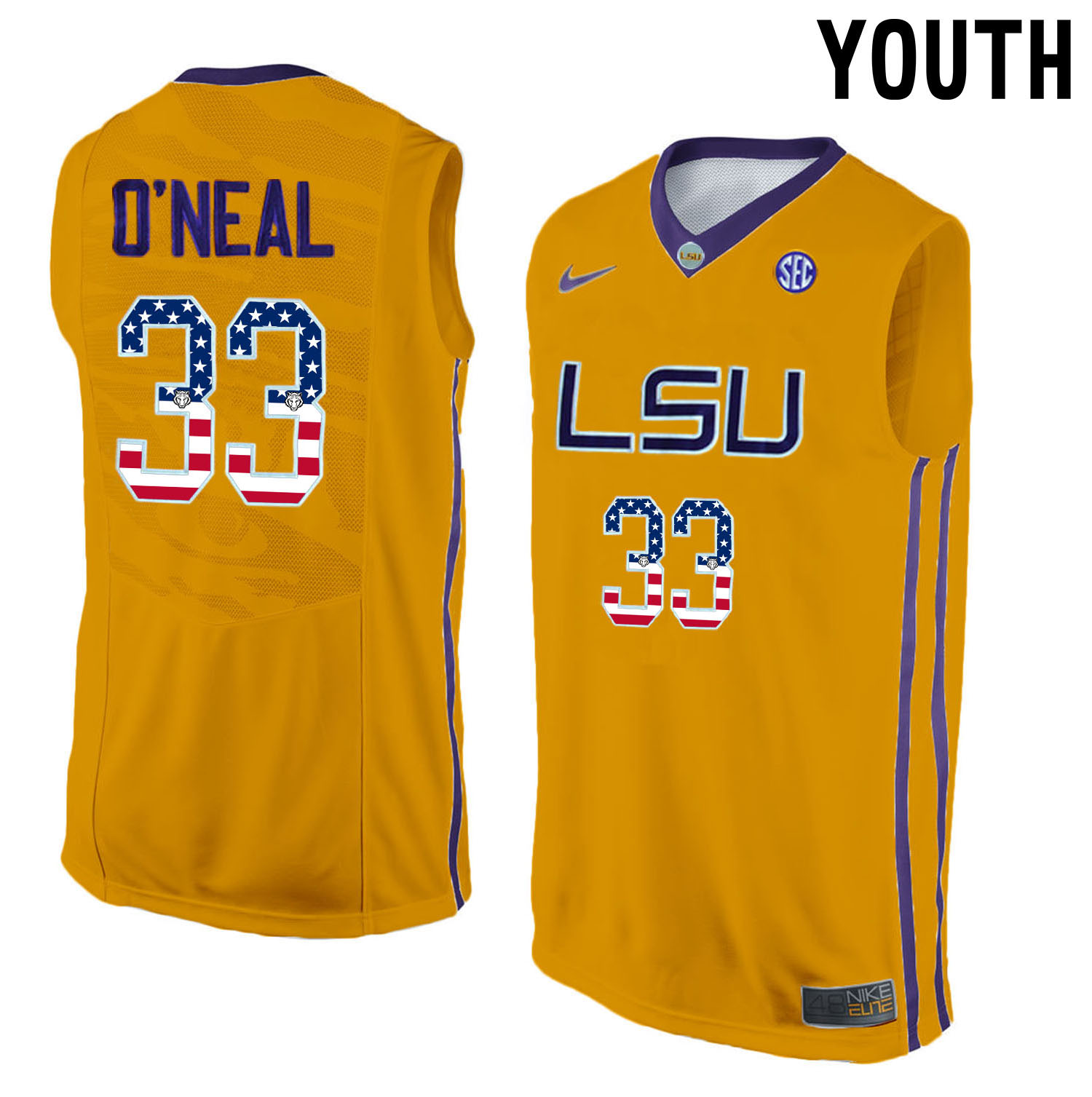 US Flag Fashion Youth LSU Tigers Shaquille O'Neal 33 College Basketball Elite Jersey Gold
