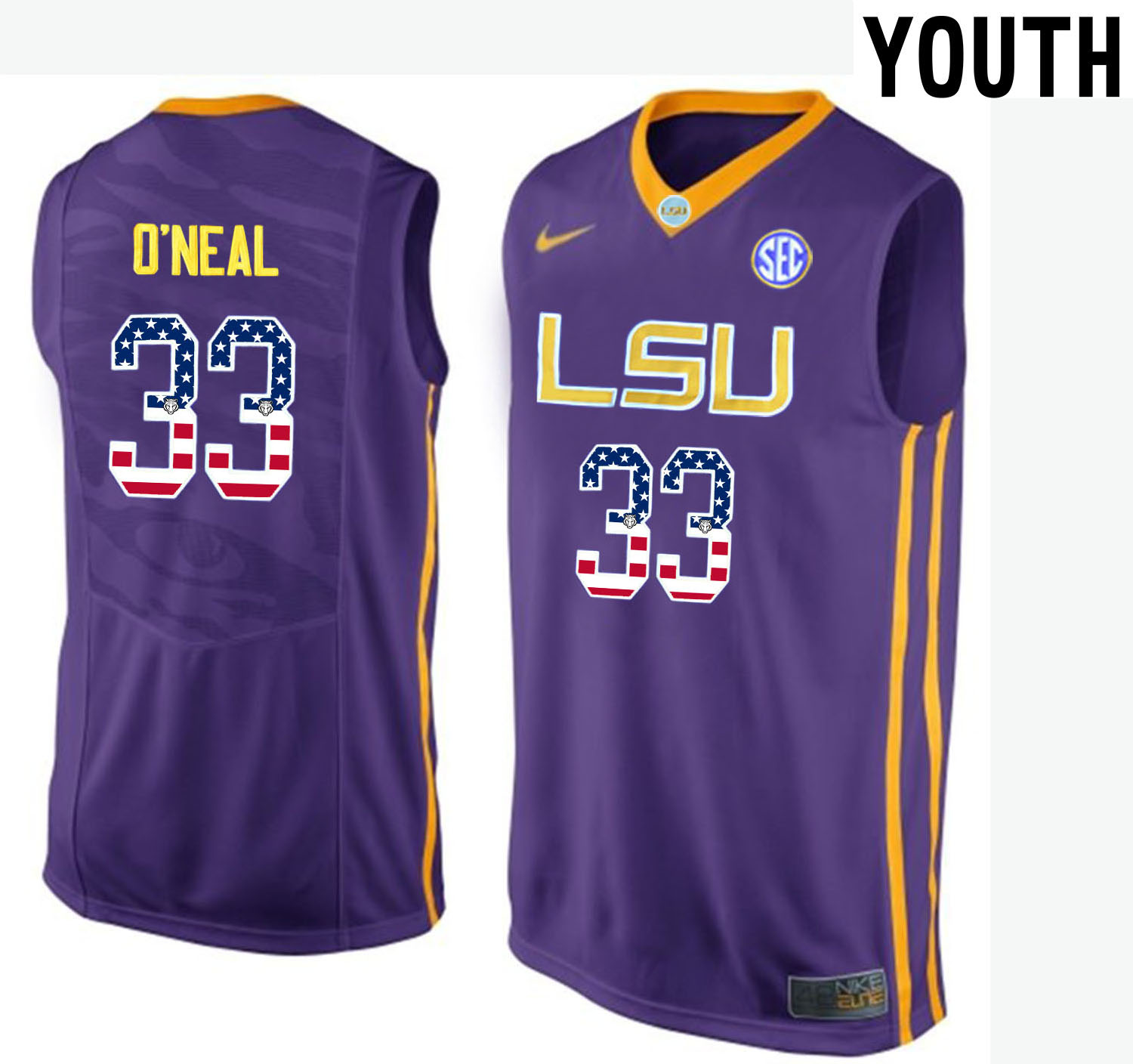 US Flag Fashion Youth LSU Tigers Shaquille O'Neal 33 College Basketball Elite Jersey Purple