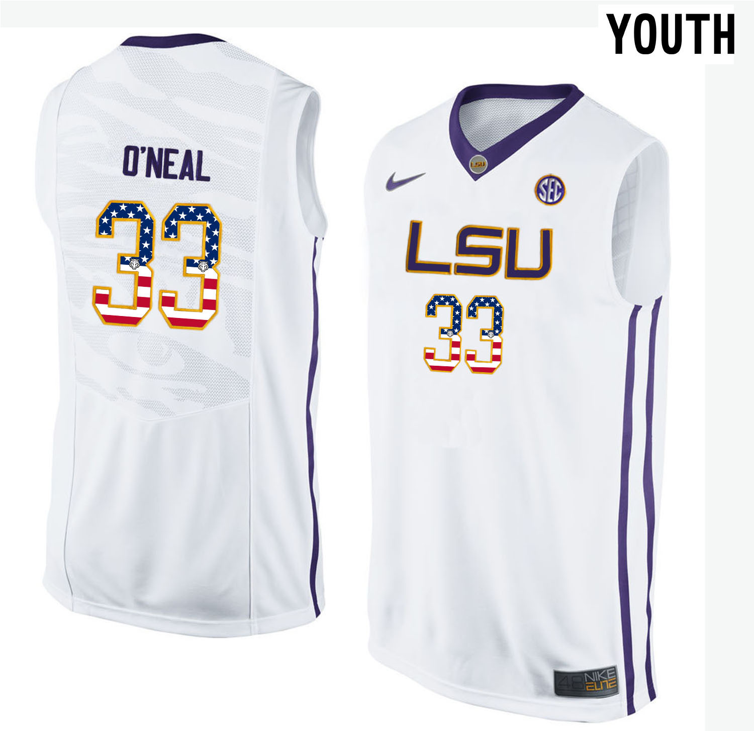 US Flag Fashion Youth LSU Tigers Shaquille O'Neal 33 College Basketball Elite Jersey White