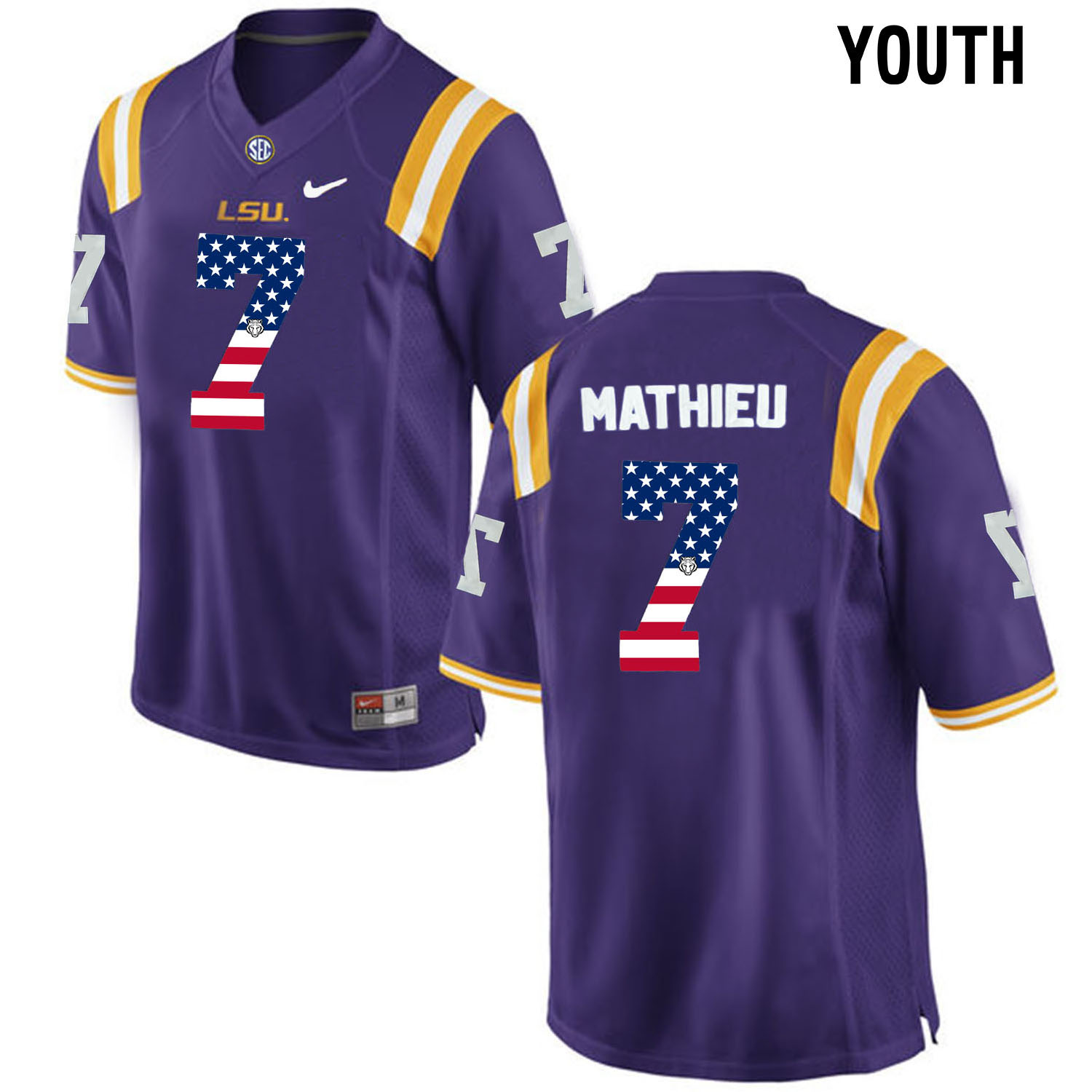US Flag Fashion Youth LSU Tigers Tryann Mathieu 7 College Football Limited Jersey Purple