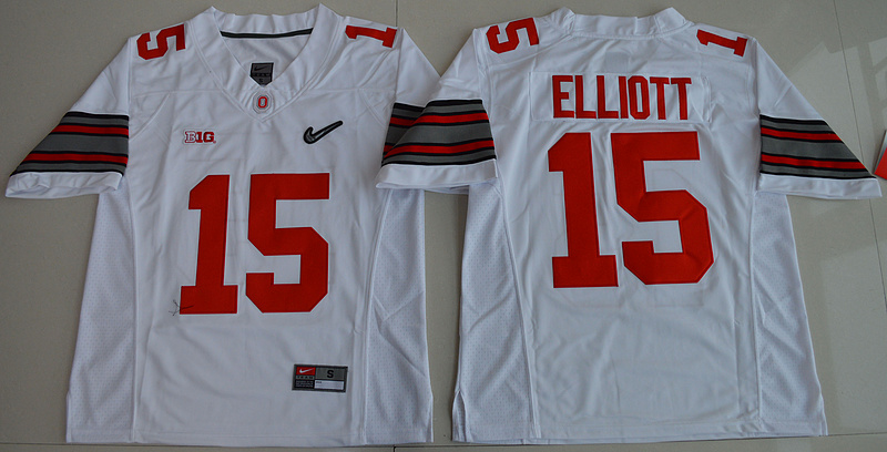 2015 Ohio State Buckeyes Ezekiel Elliott 15 Diamond Quest College Football White Jersey