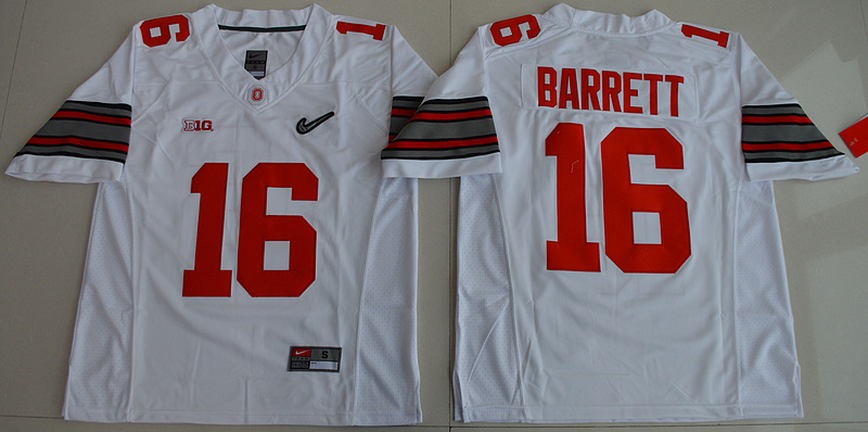 2015 Ohio State Buckeyes J.T. Barrett 16 Diamond Quest College Football White Jersey