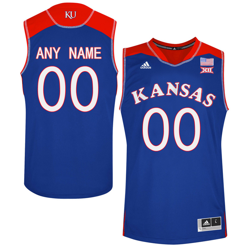 2016 Men Kansas Jayhawks Customized College Basketball Authentic Jersey Royal Blue