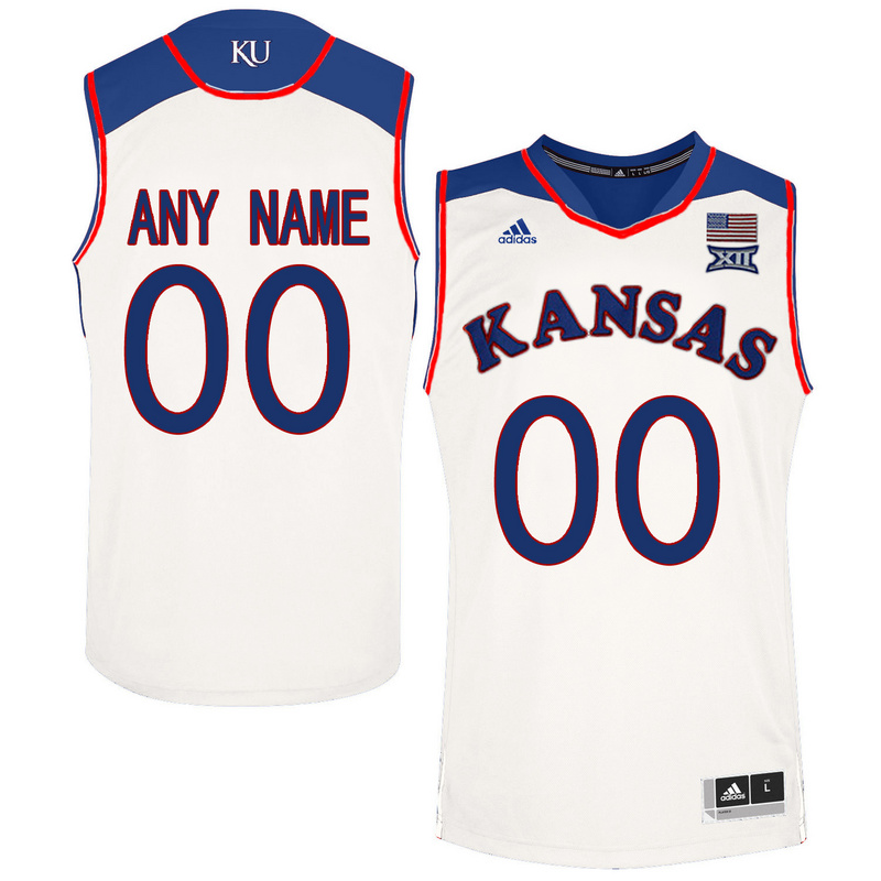 2016 Men Kansas Jayhawks Customized College Basketball Authentic Jersey White