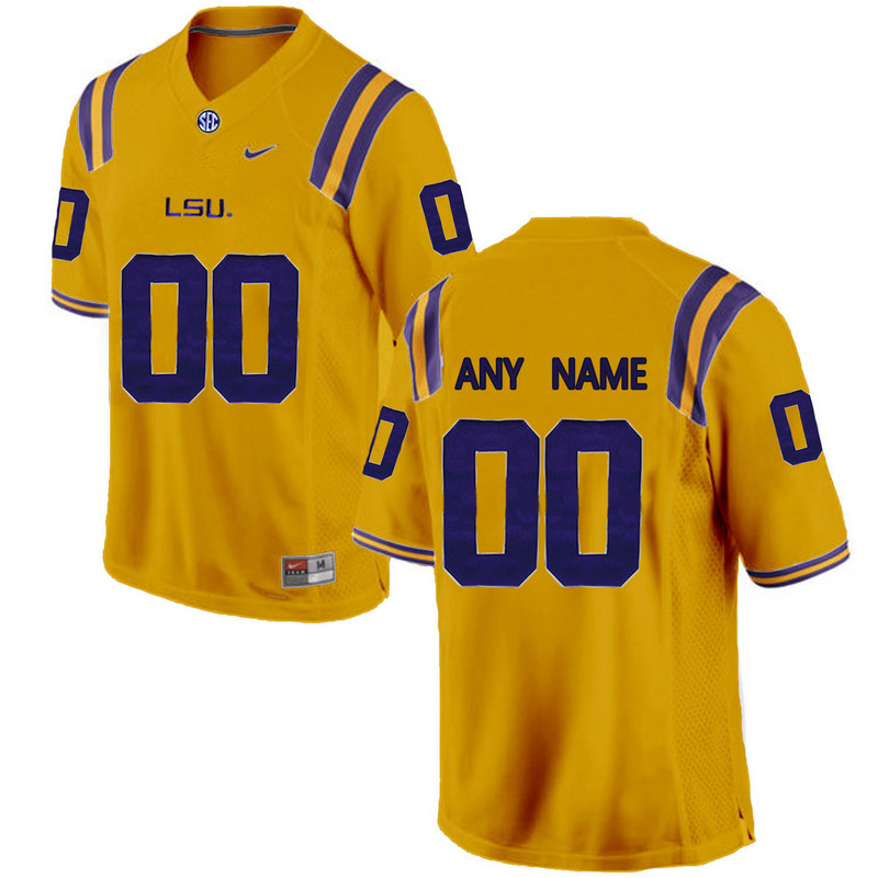 2016 Men LSU Tigers Customized College Football Limited Jersey Gold