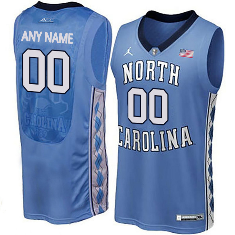 2016 Men North Carolina Tar Heels Customized College Basketball Jersey Blue
