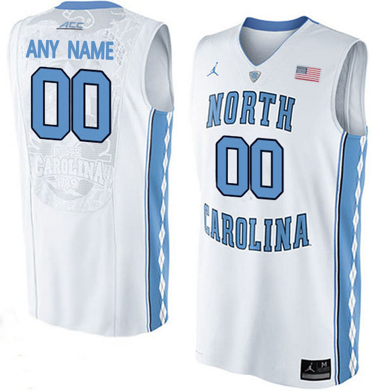 2016 Men North Carolina Tar Heels Customized College Basketball Jersey White