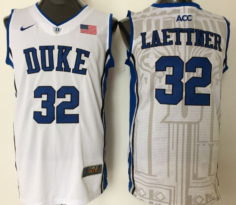 2016 NBA NCAA Duke Blue Devils 32 Laettner White Jerseys 1