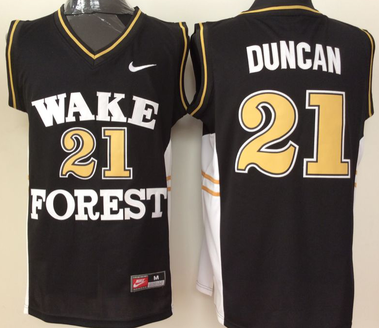 2016 NBA NCAA Wake Forest Demon Deacons 21 Duncan Black Jerseys