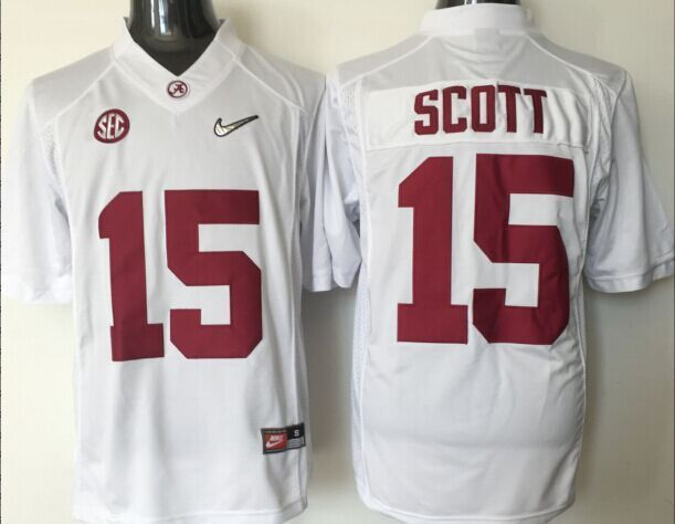 2016 NCAA Alabama Crimson Tide 15 Scott white jerseys