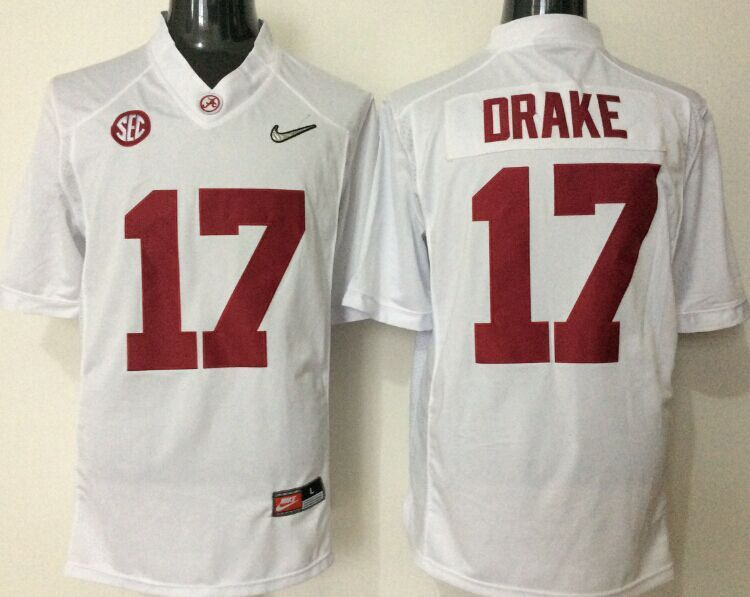 2016 NCAA Alabama Crimson Tide 17 Drake white jerseys
