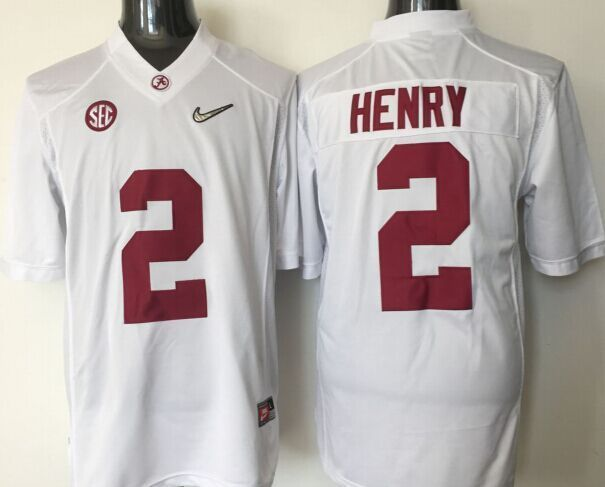 2016 NCAA Alabama Crimson Tide 2 Henry white jerseys