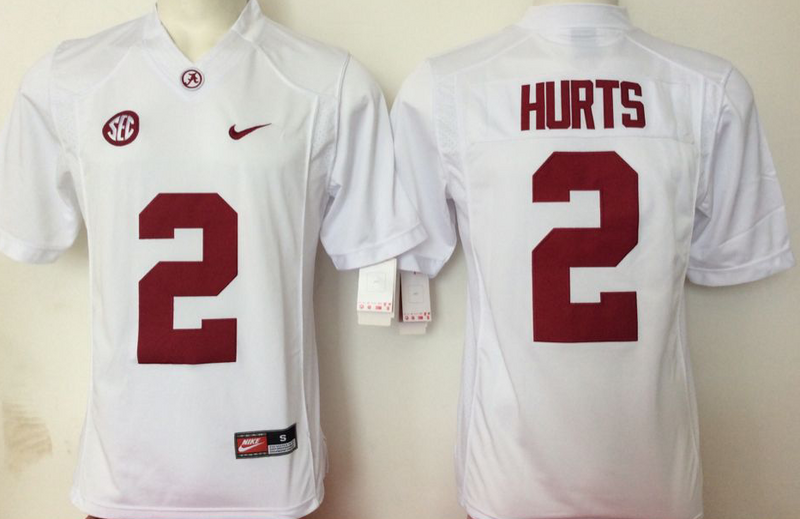 2016 NCAA Alabama Crimson Tide 2 Hurts White Jerseys