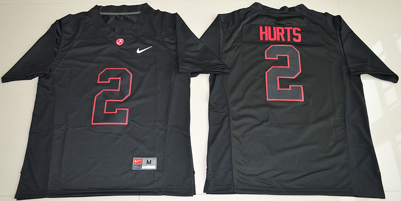 2016 NCAA Alabama Crimson Tide 2 Jalen Hurts Blackout College Football Limited Jerseys