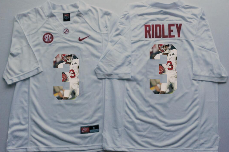 2016 NCAA Alabama Crimson Tide 3 Ridley White Limited Fashion Edition Jerseys