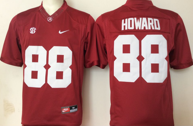 2016 NCAA Alabama Crimson Tide 88 Howard Red Jerseys