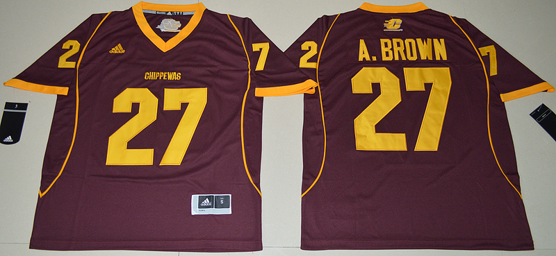 2016 NCAA Central Michigan Chippewas 27 Antonio Brown Maroon College Football Jersey