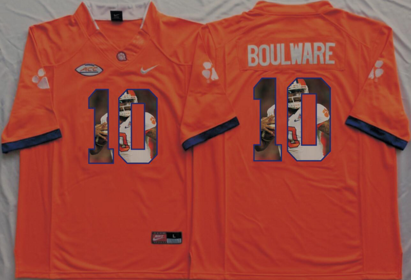 2016 NCAA Clemson Tigers 10 Boulware Orange Fashion Edition Jerseys