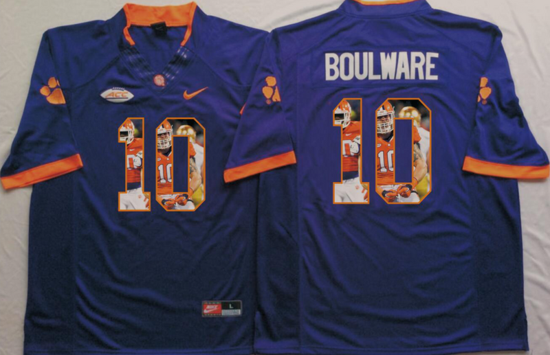 2016 NCAA Clemson Tigers 10 Boulware Purple Fashion Edition Jerseys