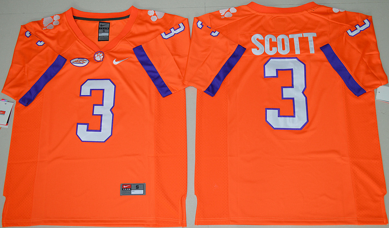 2016 NCAA Clemson Tigers 3 Artavis Scott Orange College Football Limited Jersey