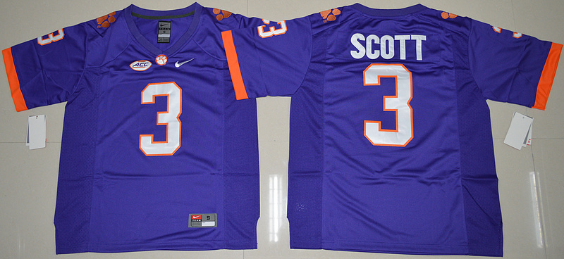 2016 NCAA Clemson Tigers 3 Artavis Scott Purple College Football Limited Jersey