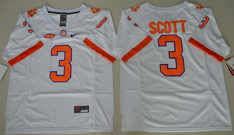 2016 NCAA Clemson Tigers 3 Artavis Scott White College Football Limited Jersey