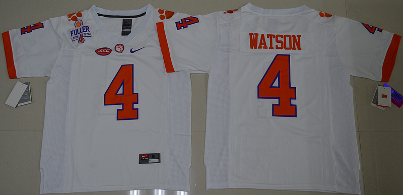 2016 NCAA Clemson Tigers 4 DeShaun Watson White College Football Limited Jersey