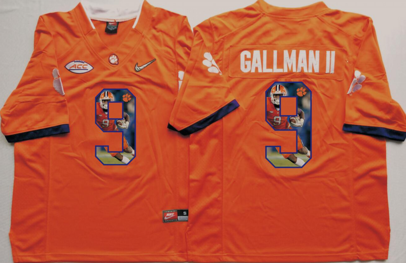 2016 NCAA Clemson Tigers 9 Gallman ii Orange Fashion Edition Jerseys