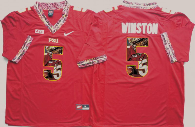 2016 NCAA Florida State Seminoles 5 Winston Red Fashion Edition Jerseys