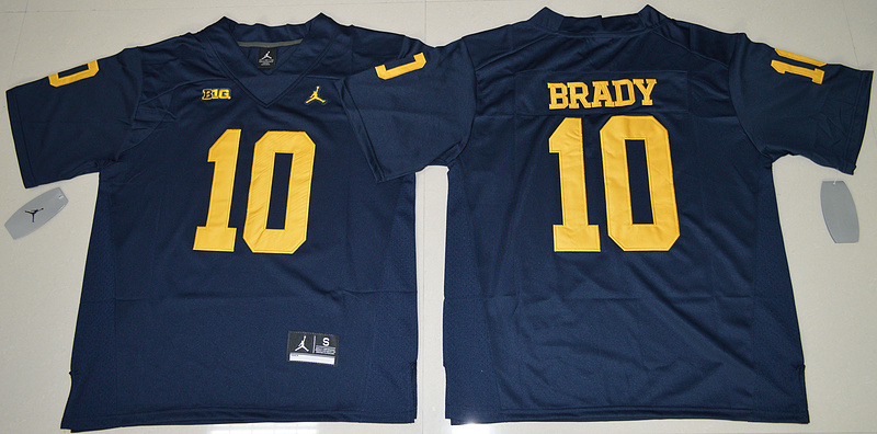 2016 NCAA Jordan Brand Michigan Wolverines 10 Tom Brady Navy Blue College Football Limited Jersey