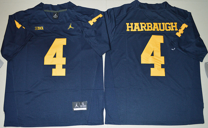 2016 NCAA Jordan Brand Michigan Wolverines 4 Jim Harbaugh Navy Blue College Football Limited Jersey