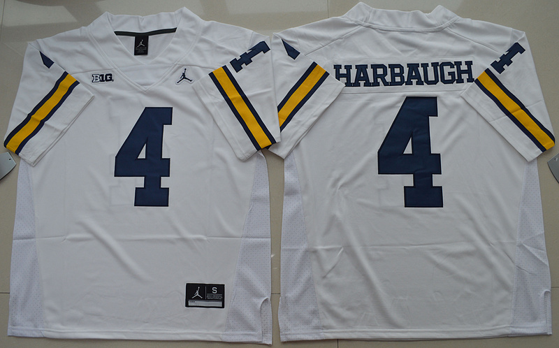 2016 NCAA Jordan Brand Michigan Wolverines 4 Jim Harbaugh White College Football Limited Jersey