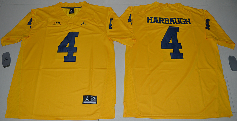 2016 NCAA Jordan Brand Michigan Wolverines 4 Jim Harbaugh Yellow College Football Limited Jersey