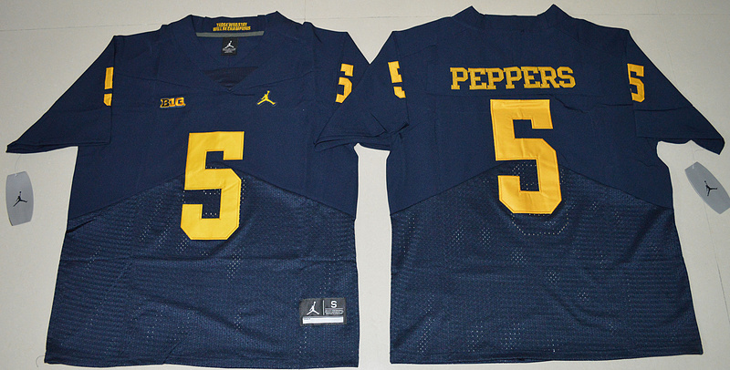 2016 NCAA Jordan Brand Michigan Wolverines 5 Jabrill Peppers Navy Blue College Football Elite Jersey
