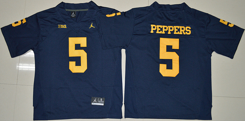 2016 NCAA Jordan Brand Michigan Wolverines 5 Jabrill Peppers Navy Blue College Football Limited Jersey