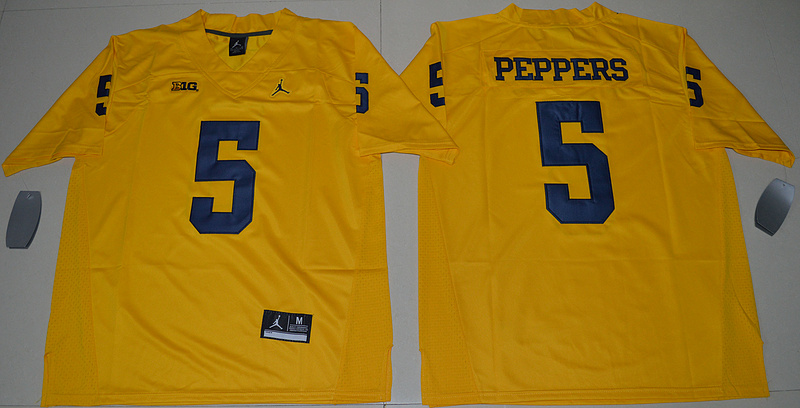 2016 NCAA Jordan Brand Michigan Wolverines 5 Jabrill Peppers Yellow College Football Limited Jersey