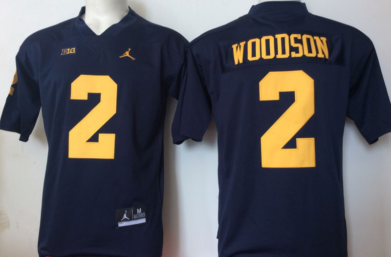 2016 NCAA Jordan Michigan Wolverines 2 Woodson Blue Jerseys
