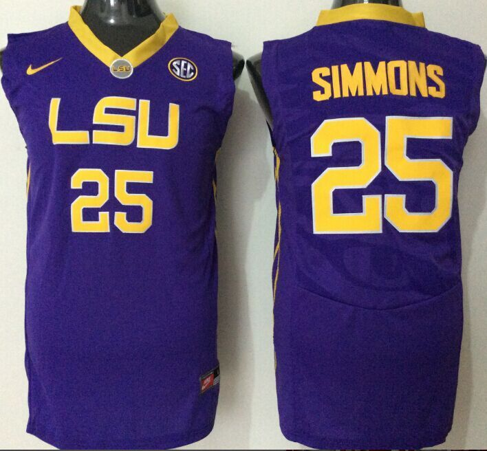2016 NCAA LSU Tigers 25 Simmons purple jerseys