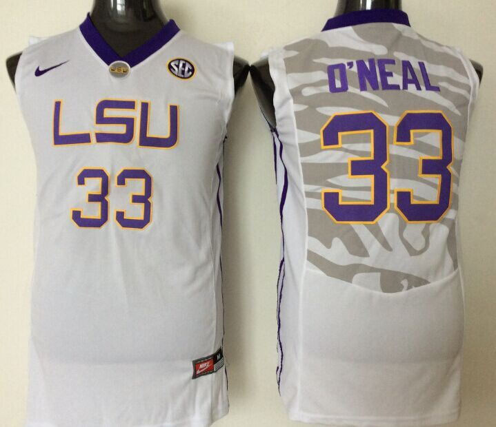 2016 NCAA LSU Tigers 33 O'neal White Jerseys