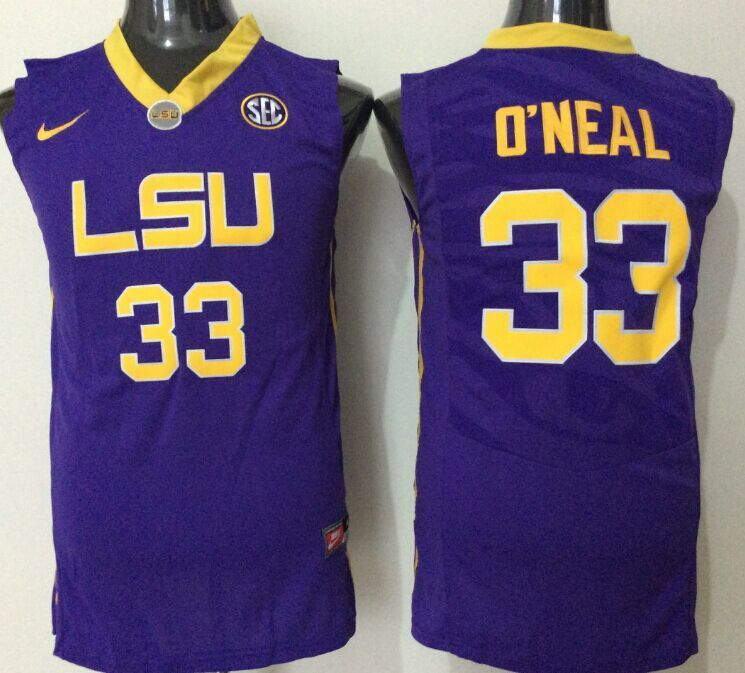 2016 NCAA LSU Tigers 33 O'neal purple jerseys