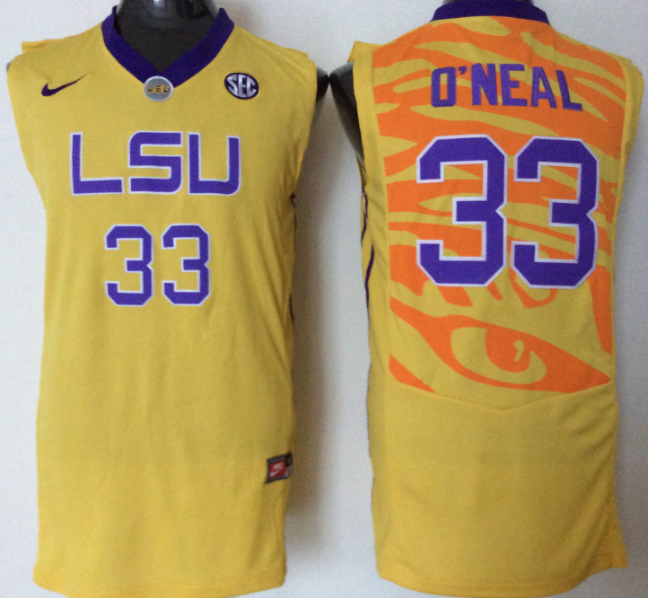 2016 NCAA LSU Tigers 33 O'neal yellow jerseys