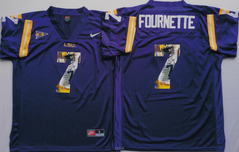 2016 NCAA LSU Tigers 7 Fournette Purple Fashion Edition Jerseys
