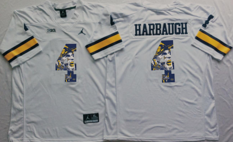 2016 NCAA Michigan Wolverines 4 Harbaugh White Fashion Edition Jerseys