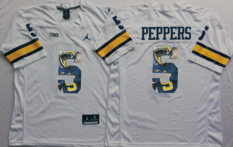 2016 NCAA Michigan Wolverines 5 Peppers White Fashion Edition Jerseys
