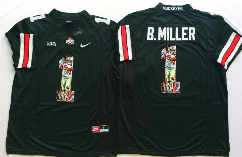 2016 NCAA Ohio State Buckeyes 1 B.Miller Black Fashion Edition Jerseys1