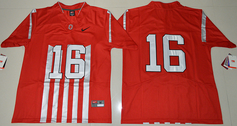 2016 NCAA Ohio State Buckeyes 16 J.T Barrett Red College Football 1917 Throwback Limited Jersey