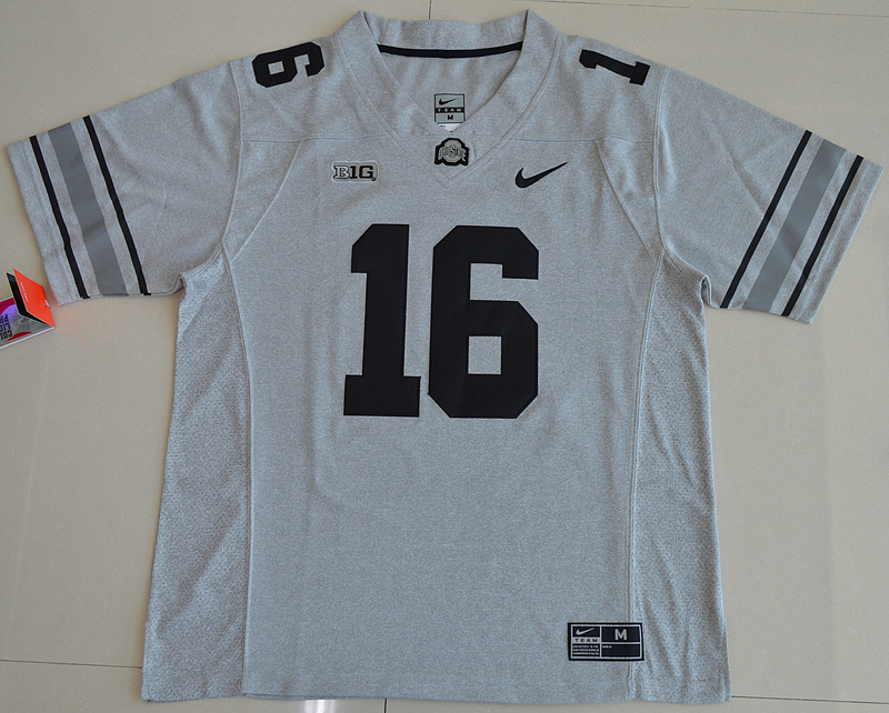 2016 NCAA Ohio State Buckeyes 16 J.T. Barrett Gridion Grey II College Football Jersey